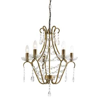 Suzanna 5 Light Ceiling Light Antique Brass (H97 x W50 x D50cm)
