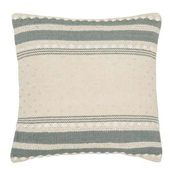 SUZANNE - Beige, Blue and Silver Cotton Cushion Cover (H40 x W40cm)