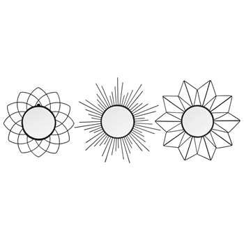 SUZI - Set of 3 Round Metal Mirrors (H25 x W25 x D2cm)