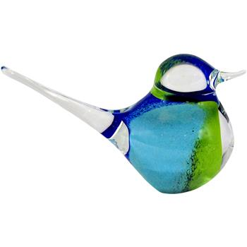 Svaja Basil Bird Ornament, Blue/Green
