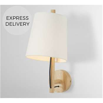 Sveinn Wood Wall Lamp, Wood & White (H40 x W26 x D19cm)