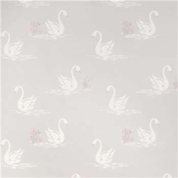 Swans Silver Wallpaper