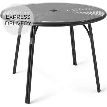 Swara Garden 4 Seater Round Dining Table, Black Rattan, Glass (H75 x W100 x D100cm)