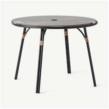 Swara Garden 4 seater Round Dining Table, Polyrattan and Glass (H74 x W100 x D100cm)