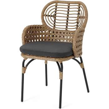Swara Garden Carver Chair, Natural Rattan and Black (H84 x W53 x D53cm)