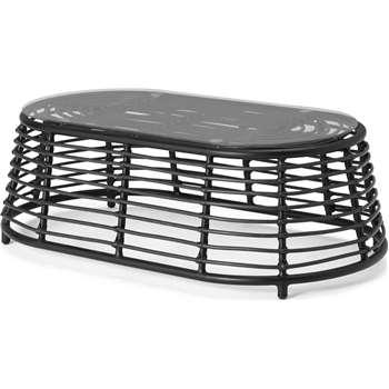 Swara Garden Coffee Table, Black Rattan and Glass (H33 x W107 x D58cm)