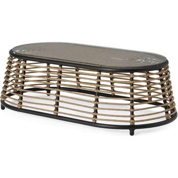 Swara Garden Coffee Table, Natural Rattan and Glass (H33 x W107 x D58cm)
