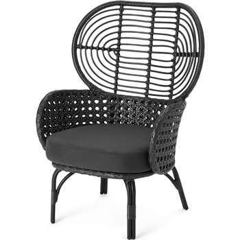 Swara Garden High back lounge Chair, Black Rattan (H100 x W67 x D65cm)