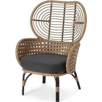 Swara Garden High back lounge Chair, Natural Rattan and Black (H100 x W67 x D65cm)