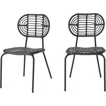 Swara Garden set of 2 Garden Dining Chairs, Black Rattan (H87 x W49 x D63cm)