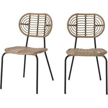 Swara Garden set of 2 Garden Dining Chairs, Natural Rattan and Black (H87 x W49 x D63cm)