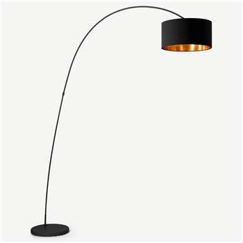 Sweep Arc Overreach Floor Lamp, Matt Black with Copper (H213 x W148 x D40cm)