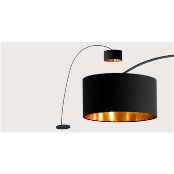 Sweep Floor Lamp, Matt Black with Copper (206 x 106cm)