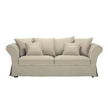 SWEET HOME 3/4 Seater Cotton Sofa in Beige (H88 x W225 x D90cm)