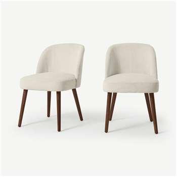 Swinton Set of 2 Dining Chairs, Ecru Corduroy Velvet with Walnut Legs (H76 x W48 x D59cm)