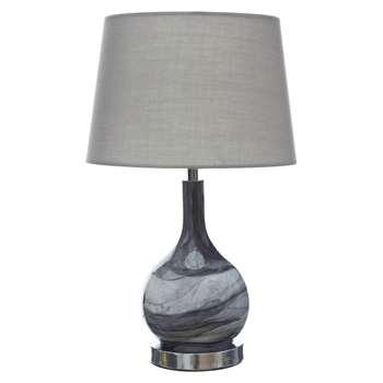 Swirl Grey Glass Table Lamp (H43.5 x W26 x D26cm)