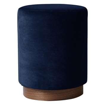 Swoon - Deep Velvet Penfold Footstool, Ink (H48 x W37 x D37cm)