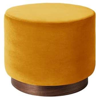 Swoon - Deep Velvet Penfold Ottoman, Honey (H39 x W48 x D48cm)