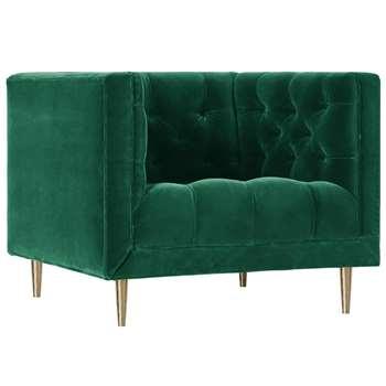 Swoon - Deep Velvet Vincent Armchair, Emerald (H77 x W95 x D89cm)