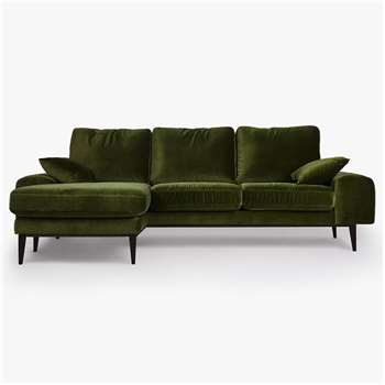 Swoon Editions Tulum Grand 4 Seater LHF Chaise End Sofa, Dark Leg, Fern Velvet (H82 x W234 x D155cm)