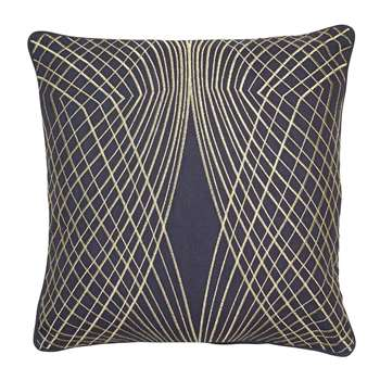 Symmetry Navy & Gold Cushion (H45 x W45cm)