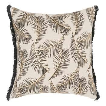 SYNEA Beige Cotton Cushion Cover with Leaf Print (H40 x W40cm)