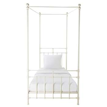 SYRACUSE Metal 90 x 190cm four-poster bed in white