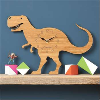 T-Rex Dinosaur Personalised Childrens Wall Clock (H30 x W40cm)