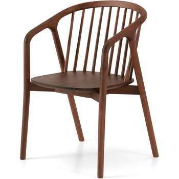 Tacoma Carver Dining Chair, Walnut (H80 x W54 x D55cm)