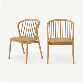 Tacoma Set of 2 Dining Chairs, Oak (H78 x W56 x D55cm)