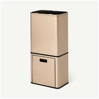 Tage Triple Touch-Free Sensor Recycling Bin, 44L, Champagne Brass (H84 x W40 x D26cm)