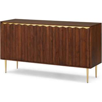 Talin Wide Sideboard, Walnut Stain Acacia wood and Brass (H76 x W140 x D40cm)