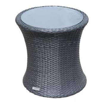 Tall Round Rattan Garden Side Table in Black (56 x 54cm)