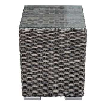Tall Square Rattan Garden Side Table in Truffle (56 x 43cm)