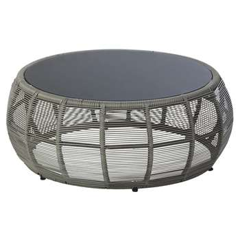 TAMARIN Round Resin Wicker and Grey Glass Garden Coffee Table (H32 x W80 x D80cm)