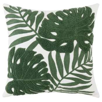 TAMARIS - White Cushion with Raised Green Leaf Design (H45 x W45cm)