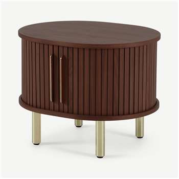 Tambo Bedside Table, Walnut & Brass (H44 x W55 x D45cm)