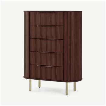 Tambo Tall Chest, Walnut & Brass (H119 x W82 x D45cm)
