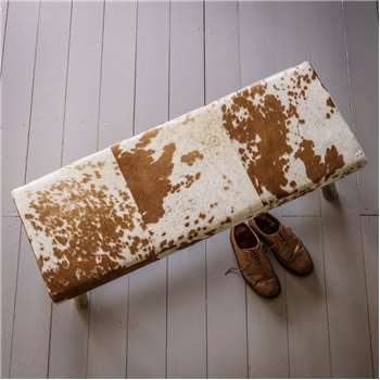 Tan And White Cowhide Bench (45 x 110cm)
