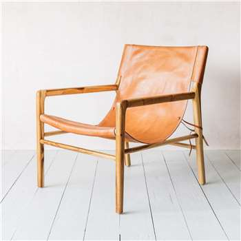 Tan Safari Low Chair (H79 x W67 x D73cm)