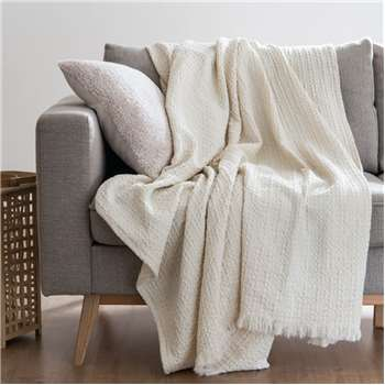 TANAL - Waffled Ecru Cotton Blanket (H160 x W210cm)