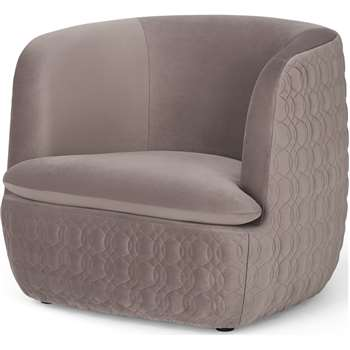 Tandy Accent Chair, Soft Mauve Velvet (H74 x W91 x D84cm)