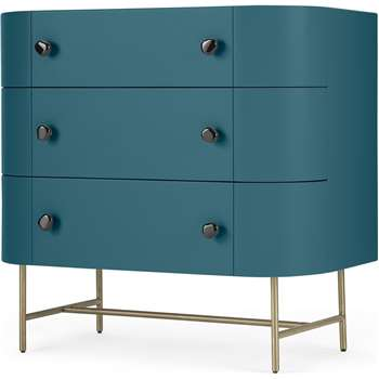 Tandy Chest of Drawers, Teal Blue with Gloss Black Handles & Brass Legs (H79 x W80 x D45cm)