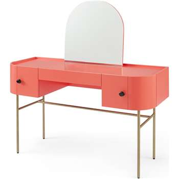 Tandy Dressing Table, Coral Pink with Gloss Black Handles & Brass Legs (H128 x W120 x D45cm)