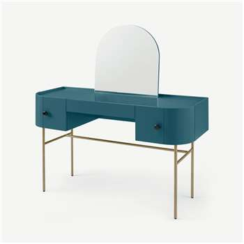 Tandy Dressing Table, Teal Blue with Gloss Black Handles & Brass Legs (H128 x W120 x D45cm)