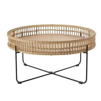 TANGLAO Round Resin Faux Rattan Garden Table (H43 x W85 x D85cm)