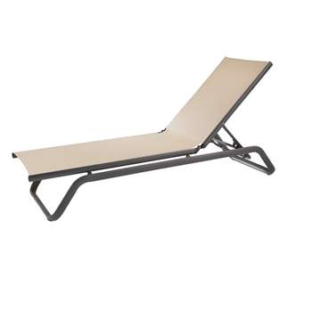 TANGO PRO Beige Epoxy Aluminium and Canvas Lounger (H33.5 x W191 x D60cm)