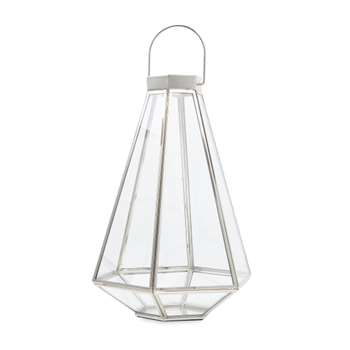 Tapered Glass and Metal Silver Effect Lantern (H31 x W17 x D15cm)