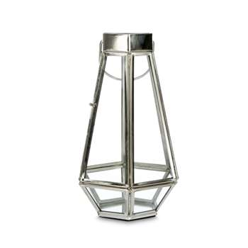 Tapered Glass and Silver Effect Tealight Holder (Height 22cm)