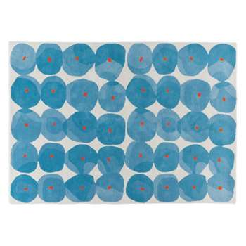 Habitat Tash Patterned Wool Rug - Blue (H170 x W240cm)